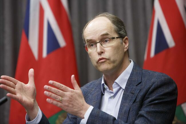 MIKE DEAL / WINNIPEG FREE PRESS John Pollard, co-CEO of Pollard Banknote Ltd., speaks at the Manitoba Legislature Friday. The governments of Canada and Manitoba are partnering with the Pollard family to build new housing for the protection of vulnerable homeless populations with mental health or addiction issues in Winnipeg's Centennial neighbourhood.</p>