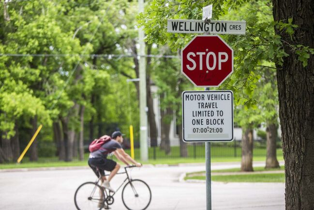 Wellington Crescent, which is currently restricted to one block of vehicle travel, in Winnipeg on Friday.