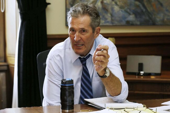 Premier Brian Pallister granted a third interview in less than a week with the Free Press and the Canadian Press Thursday. (John Woods / Winnipeg Free Press)</p>