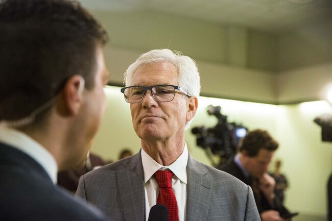 MIKAELA MACKENZIE / WINNIPEG FREE PRESS</p>     <p>Liberal candidate Jim Carr speaks to the media about his win in Winnipeg South Centre at the Caboto Centre in Winnipeg on Monday.</p>