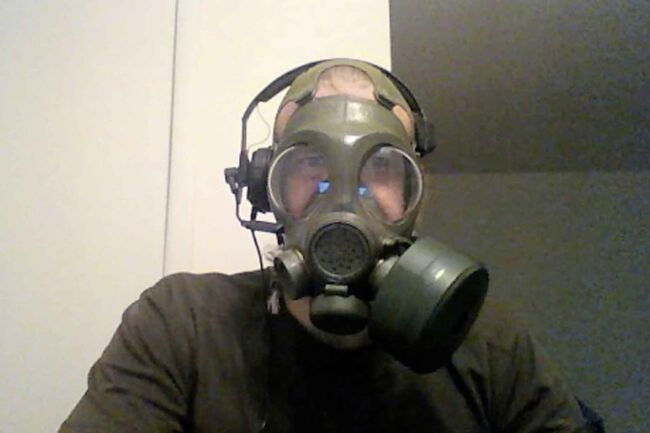 A screenshot of Patrik Mathews from a video he made while wearing a gas mask and attempting to distort his voice while espousing violence, anti-Semitic and racist language. (U.S Attorney Detention Motion, Maryland)