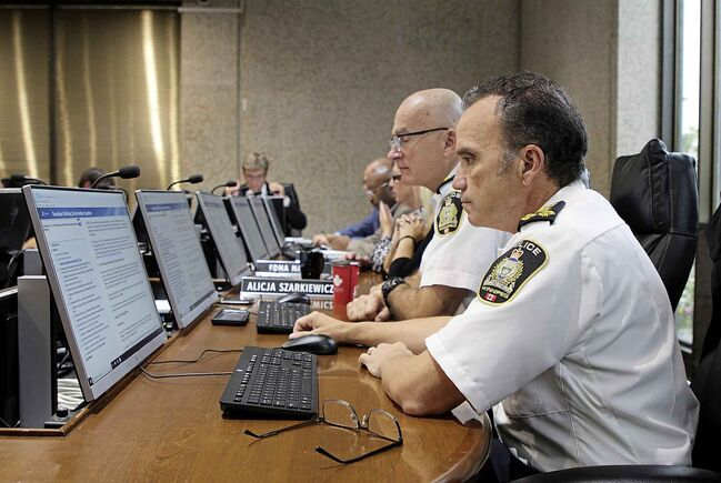 MAGGIE MACINTOSH / WINNIPEG FREE PRESS						</p>																	<p>Chief of Police Danny Smyth presented the police board with an update on the service's guns and gangs program Friday. Smyth says he believes the virtual assessment pilot will relieve some of the break-and-enter forensic assessment wait times for citizens, which can be up to two days.						</p>