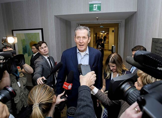 Brian Pallister, Premier of Manitoba, arrives during a meeting of the Council of the Federation which bring together all 13 provincial and territorial Premiers. (Nathan Denette / Canadian Press)