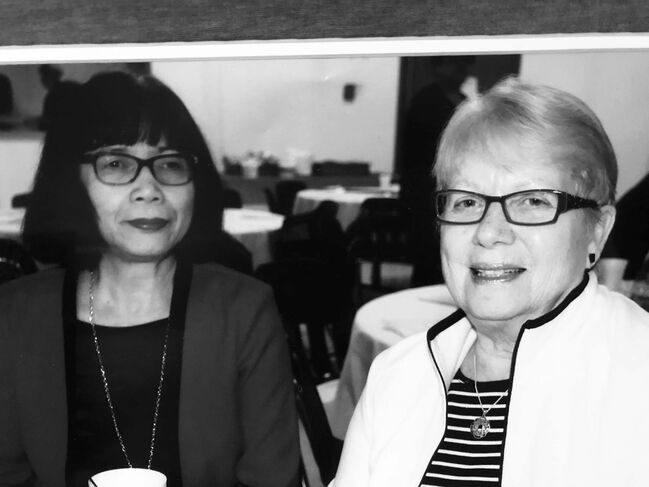 <p>Supplied</p><p>Roy and her best friend, Irene Puloski, at a fundraiser in 2018.</p>