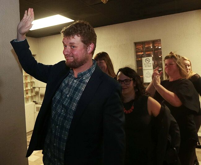 Daniel Blaikie told reporters he credited his victory to his constituency work and to the performance of party leader Jagmeet Singh. (Phil Hossack / Winnipeg Free Press)</p>