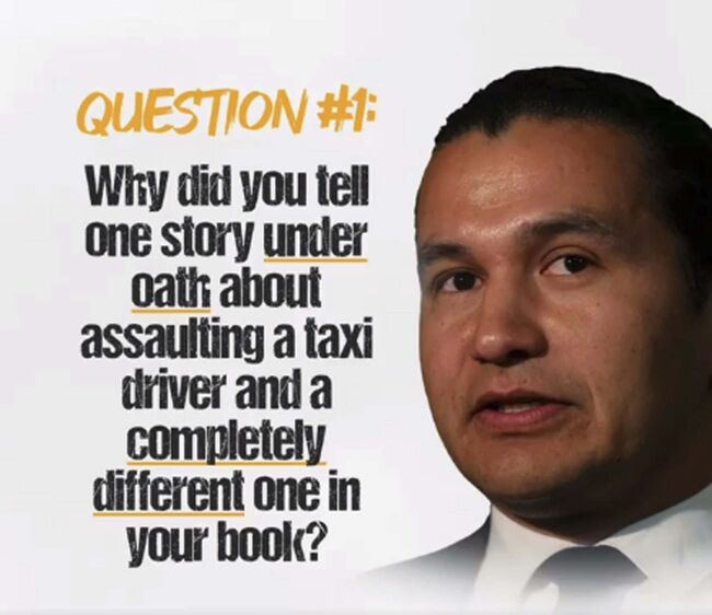 FACEBOOK						</p>																	<p>A Tory Facebook ad, the first election-type attack ad noticed so far, focuses on Wab Kinew's assault on a taxi driver. The ad targets women aged 25 and older who live in Winnipeg and uses audio from a CBC interview.						</p>