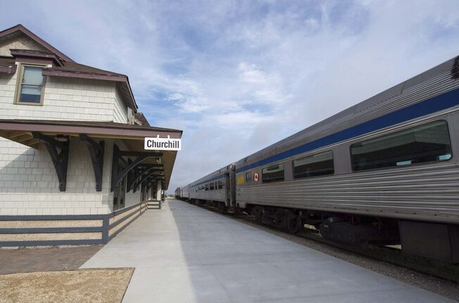 SUBMITTED A Via Rail train sits idle at the train station in Churchill in June 2017 after tracks south of the town washed out in several places. The town's tourist industry has taken a huge hit because of the loss of the railway.