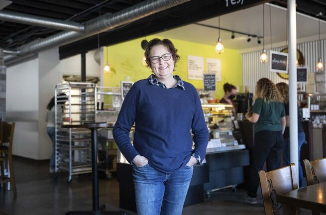 Betsy Hiebert, owner of Cocoabeans Gluten-Free. (Jessica Lee / Winnipeg Free Press)</p>