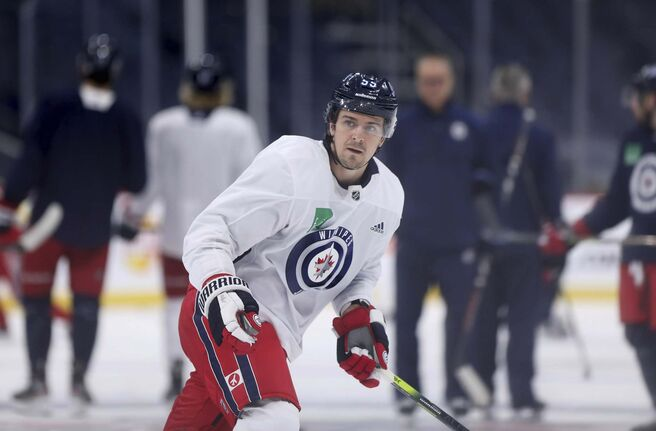 Mark Scheifele has his game-face on and wants to show the doubters how wrong they are about this year's team. (Ruth Bonneville / Winnipeg Free Press)</p>