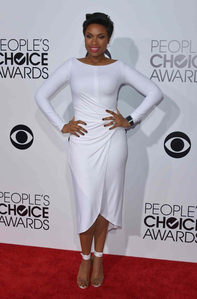 Jennifer Hudson arrives at the 2014 People's Choice Awards. She'd go on to win the award for favourite humanitarian. (John Shearer / Invision/ The Associated Press)