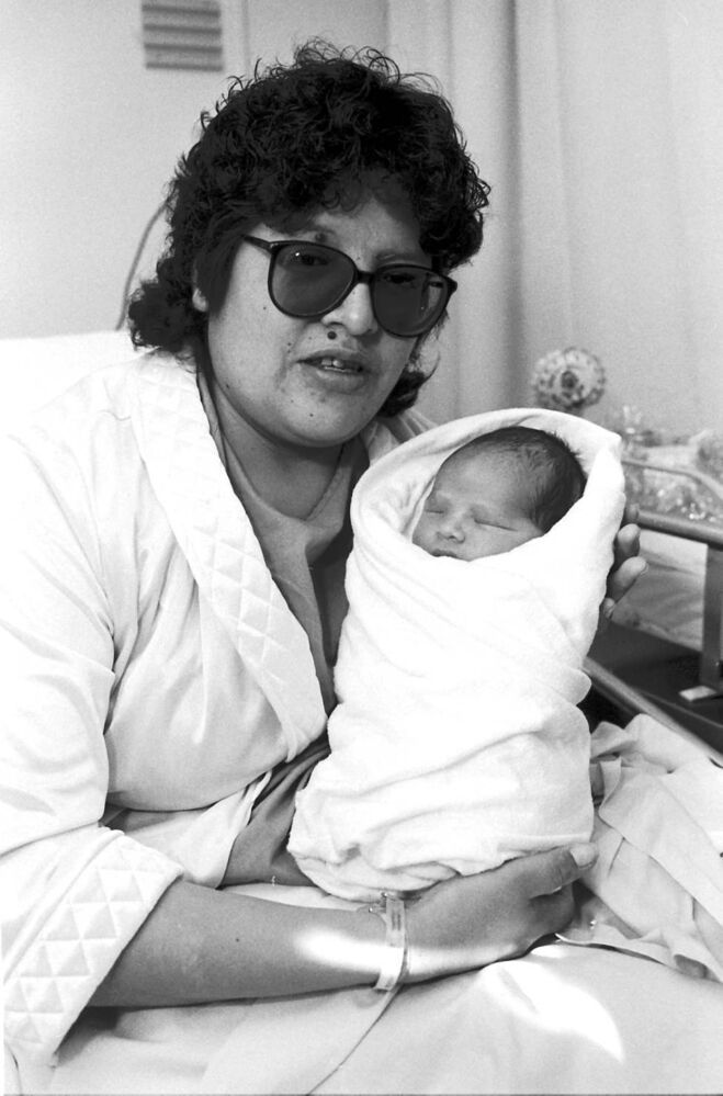 Heavyweight champ supplies favoured name Lorraine Trout holds her new years baby, tentatively named Tyson Tony Trout — after heavyweight champion boxer Mike Tyson. Tyson weighed in at six pounds, nine ounces.