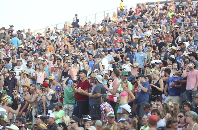Bruce Bumstead/Brandon Sun</p><p>Brandon Sun Dauphin Country Fest fans filled the main stage seating area as Gord Bamford took to the stage on Saturday night.</p>