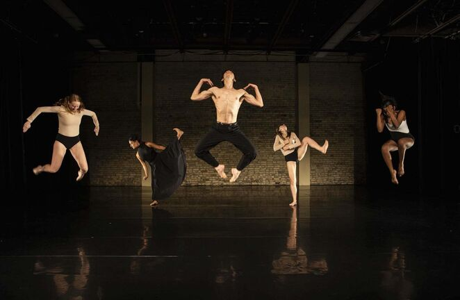 """JESSICA LEE / WINNIPEG FREE PRESS</p><p>""""The type of movement we do at school, it's quite different,"""" says Gabriela Garcia Ortiz (second from left), rehearsing for Friday's one-night-only showcase of the Winnipeg Contemporary Dancers' Emerging Artist Initiative.</p>"""