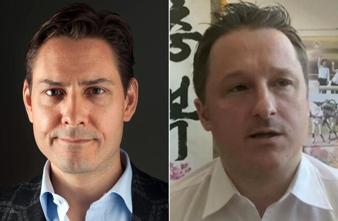 Michael Kovrig, left, and Michael Spavor, the two Canadians detained in China. Spavor goes on trial on Friday, Kovrig's trial is set to start Monday.