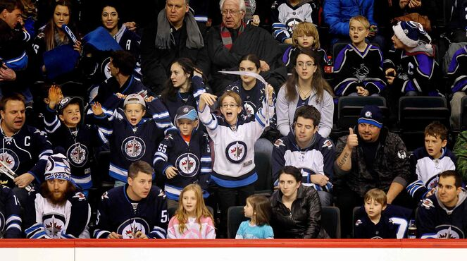 Fans young and old cheer at the annual Winnipeg Jets Skills Competition Wednesday night at the MTS Centre.