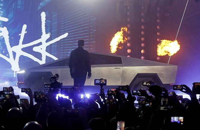 Tesla CEO Elon Musk used some pyro to introduce the Cybertruck last week. (Ringo H.W. Chiu / The Associated Press files)