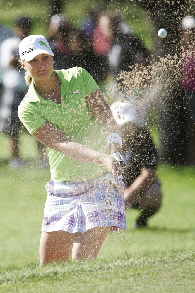 Anna Nordqvist hits out of the bunker on the fourteenth hole in the opening round of the CN Canadian Women's Open 2010 in Winnipeg, Thursday, August 26, 2010. (John Woods / THE CANADIAN PRESS)