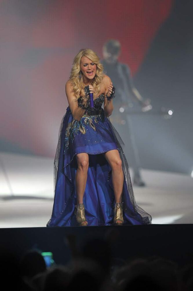 Carrie Underwood belts out one of her hits.