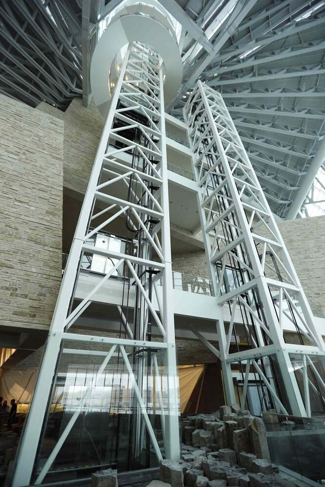 Elevators take visitors to the various levels from the second level Garden of Contemplation in the Canadian Museum for Human Rights.