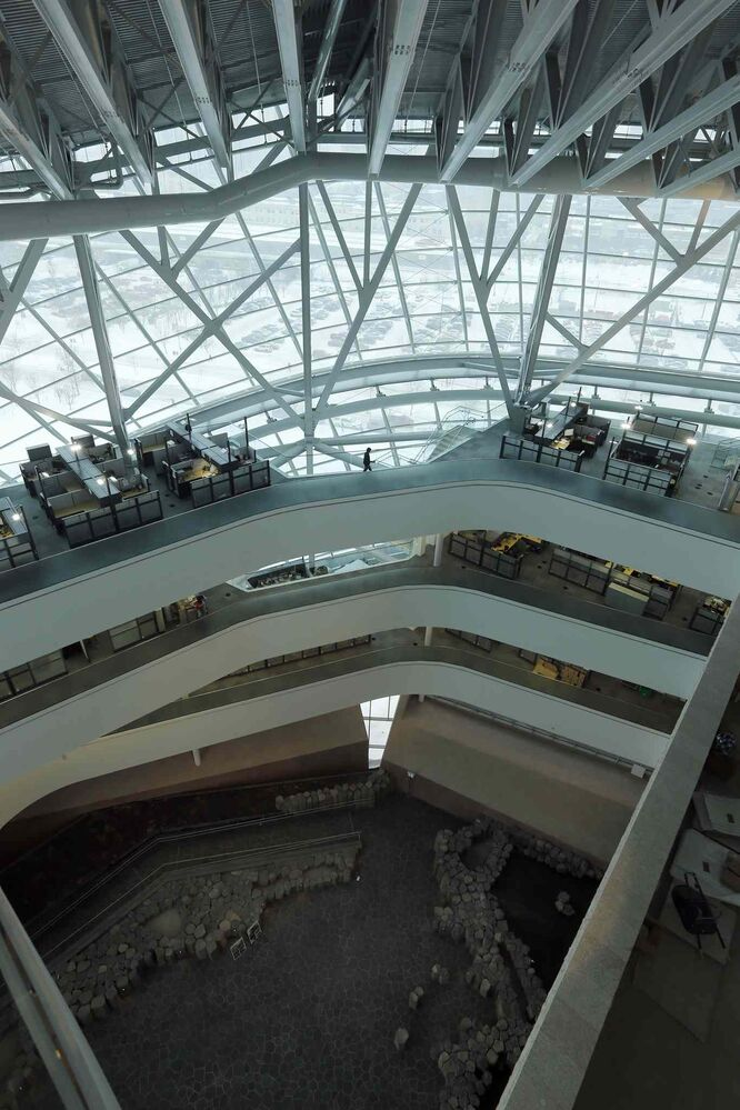 On Level 5, looking down on office space and Garden of Contemplation (KEN GIGLIOTTI / WINNIPEG FREE PRESS)