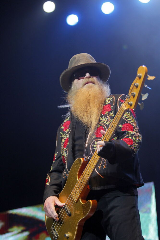 Dusty Hill performing some of ZZ Tops top hits.