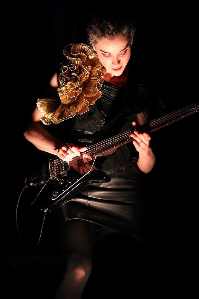 St. Vincent performs at The Burton Cummings Theatre. (JOHN WOODS / WINNIPEG FREE PRESS)