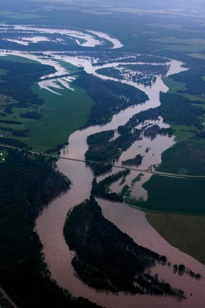 Aerial photo of  flooded roads west of the Portage la Prairie area.