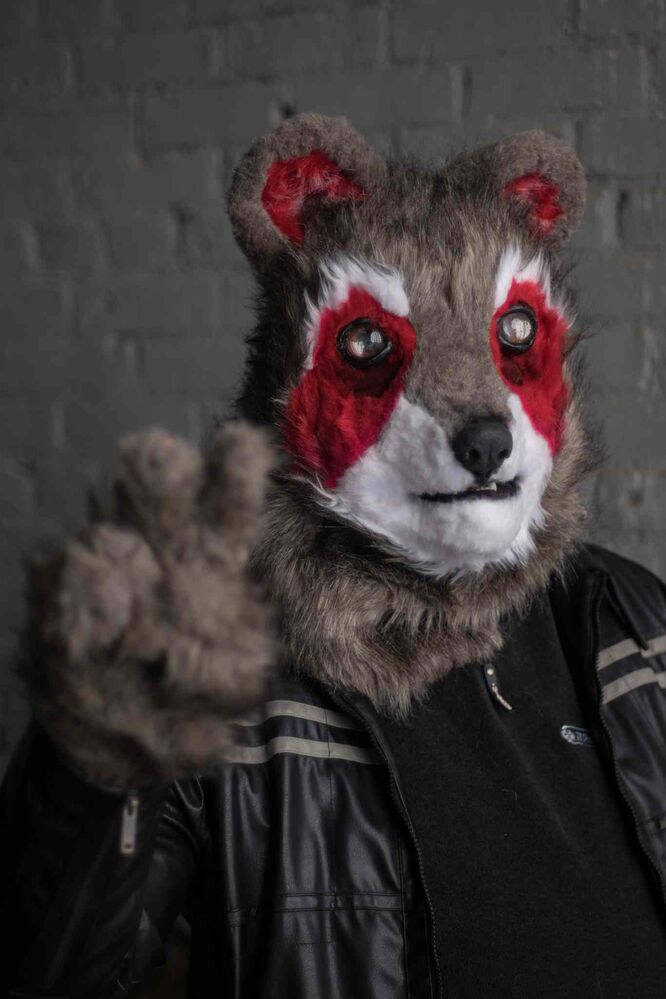 Robert dressed in his furry suit as Ricky Raccoon.  (MIKE DEAL / WINNIPEG FREE PRESS)