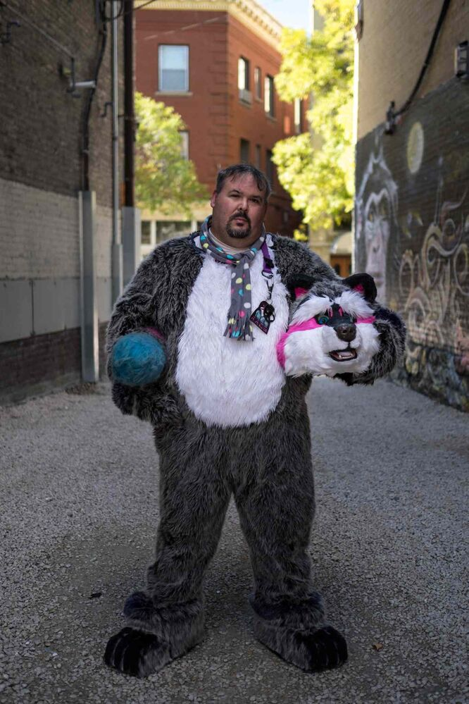 Edward dressed in his furry suit as Racs.  (MIKE DEAL / WINNIPEG FREE PRESS)