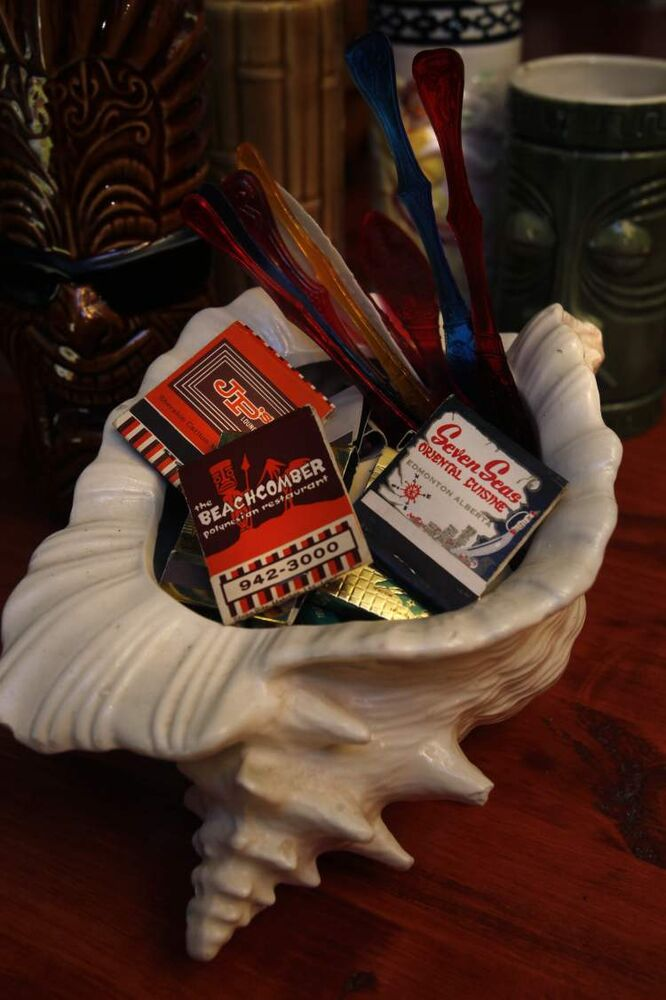 A matchbook collection in Ron and Lesley's Tiki lounge.