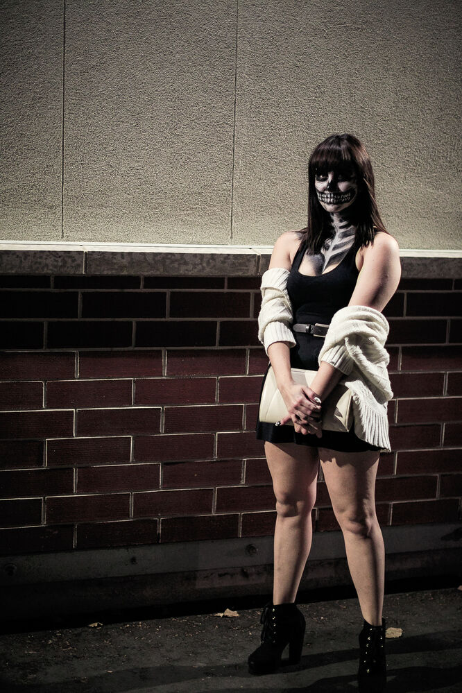 A skeleton lady on her way to a social. Day 7. (MELISSA TAIT / WINNIPEG FREE PRESS)