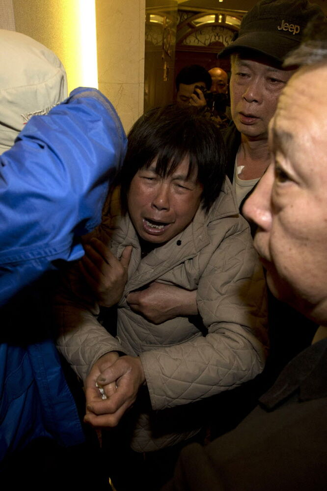 Relatives of presumed-dead passengers grieve after being told of the latest news in Beijing. It was the grim news that families of the missing Malaysian Airlines flight had dreaded for weeks, and on Monday they heard it from Malaysia's prime minister: new analysis of satellite data indicates the missing plane crashed into a remote corner of the Indian Ocean.