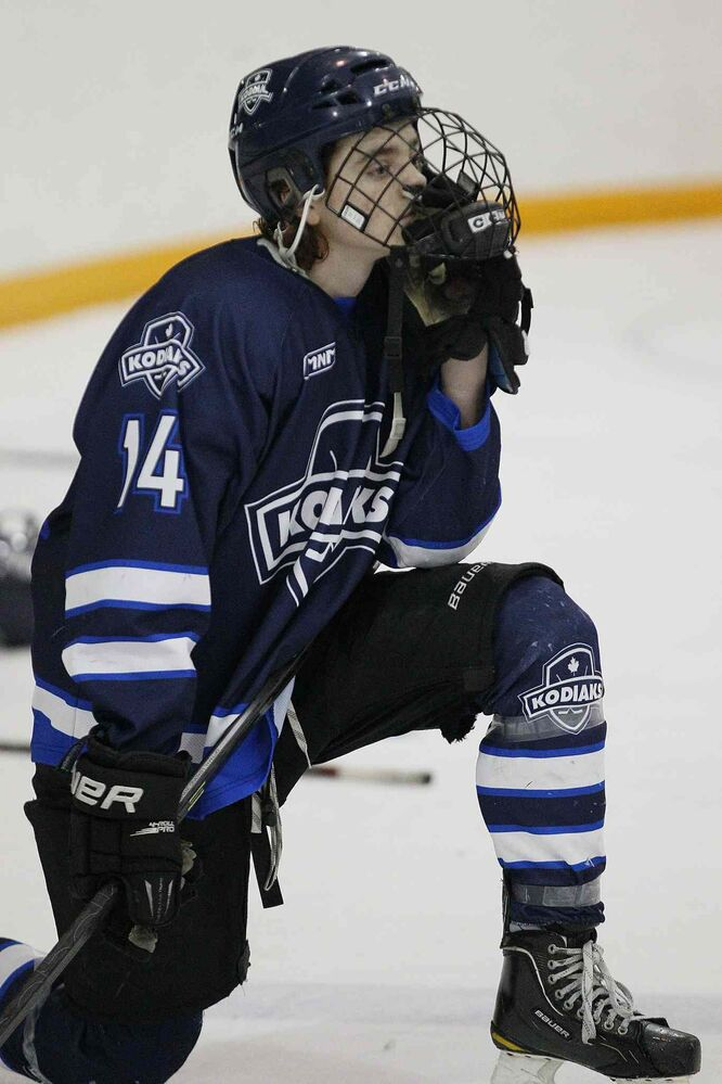 The River East Kodiaks' Brady Valiquette can only wonder what might have been. (JOHN WOODS / WINNIPEG FREE PRESS)