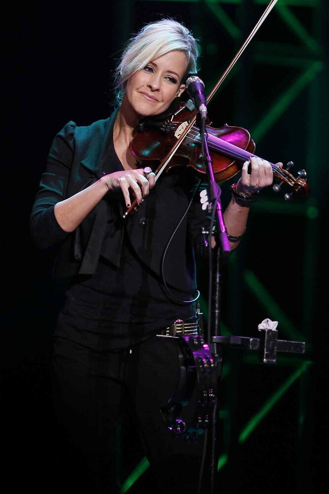 Martie Maguire is one with her instrument Tuesday. (JOHN WOODS / WINNIPEG FREE PRESS)