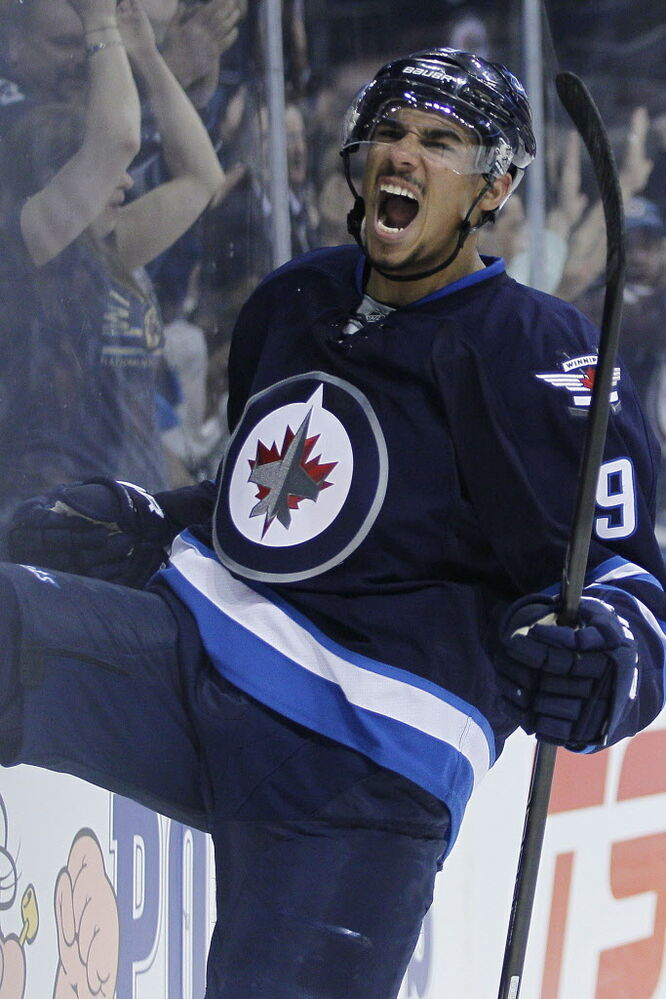 Winnipeg Jets' Evander Kane (9) celebrates his goal against the Colorado Avalanche during the second period.