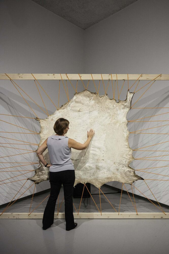 Tammy Sawatzky from the Inuit Art Centre Communications at the WAG tests out an interactive piece by Tsema Igharas, Esghanana (Reclamation) Series, 2016 (moose and abaca paper).<br>