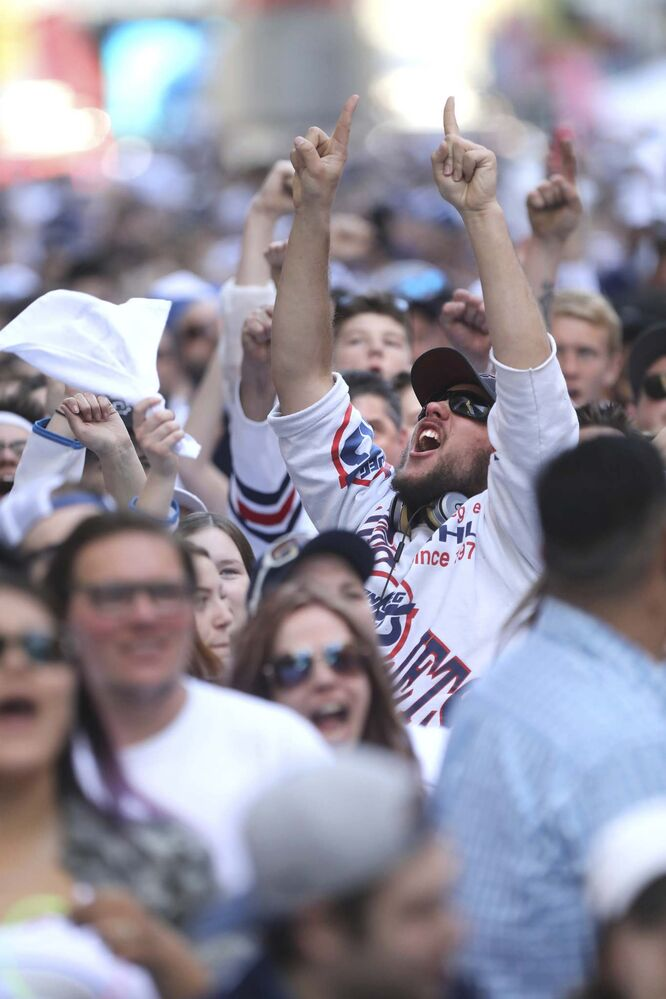 RUTH BONNEVILLE / WINNIPEG FREE PRESS</p><p>Thousands of Winnipeg Jets fans scream at the start of the Winnipeg Jets vs Vegas Golden Knights game outside Bell MTS Place on Donald Street during the Whiteout street party Saturday, May 12, 2018.</p>