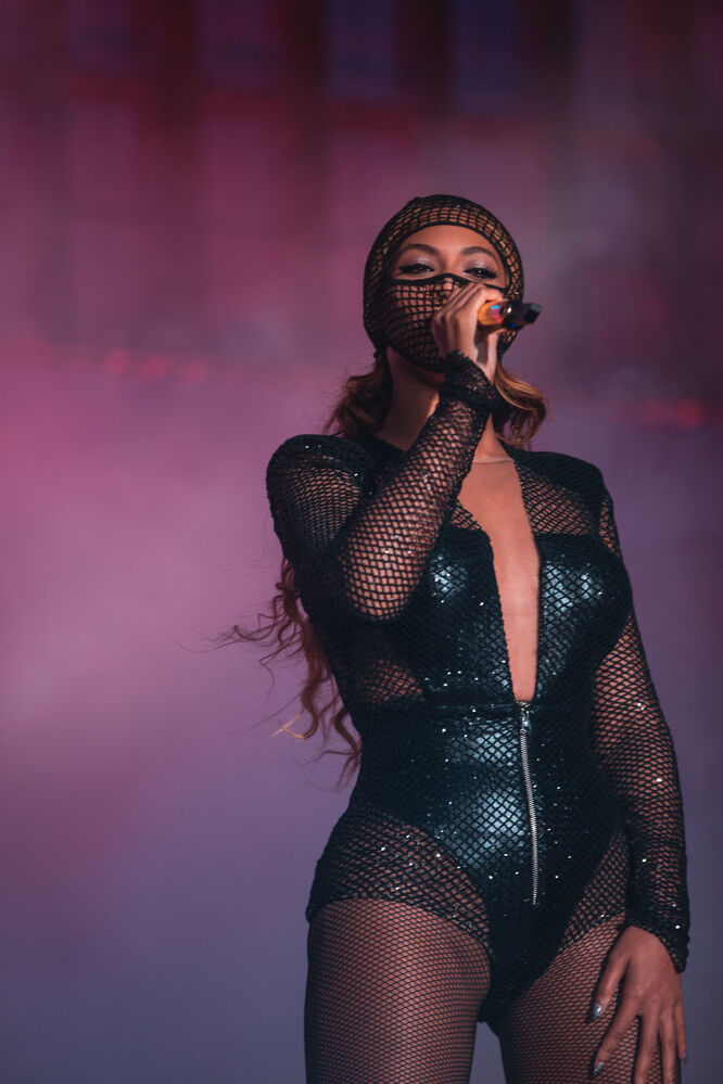 Beyoncé sings on stage at Investors Group Field Sunday. (Robin Harper / Parkwood Entertainment )