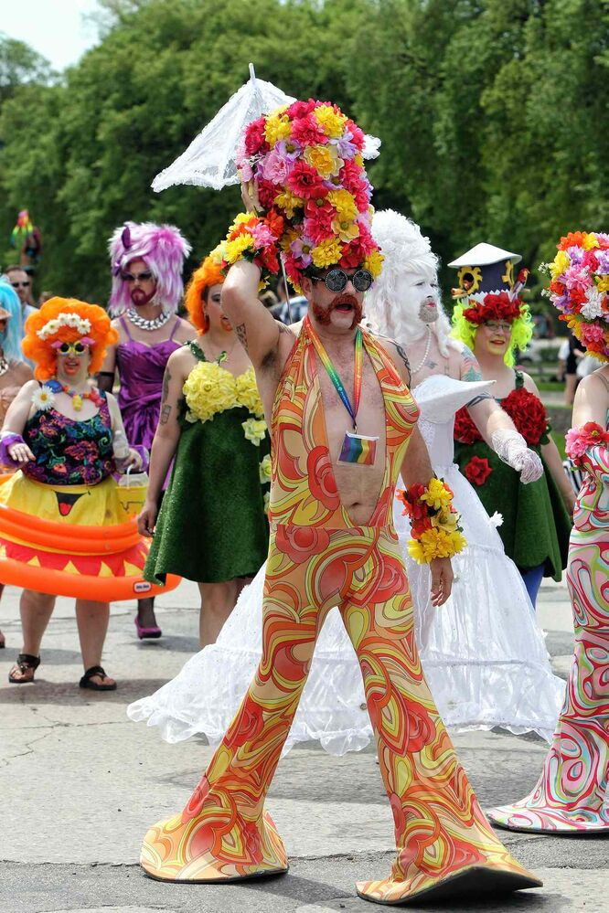 Colourful costumes are a staple of Pride Parade. (Mike Deal / Winnipeg Free Press)
