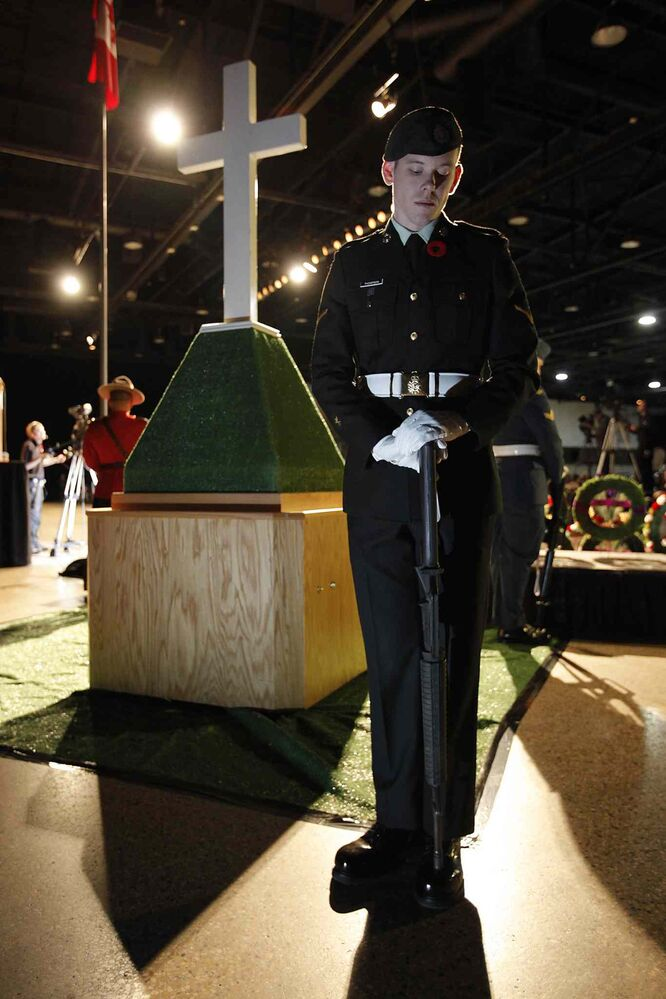 A soldier stands in silence during the Remembrance Day service at the RBC Convention Centre Winnipeg.