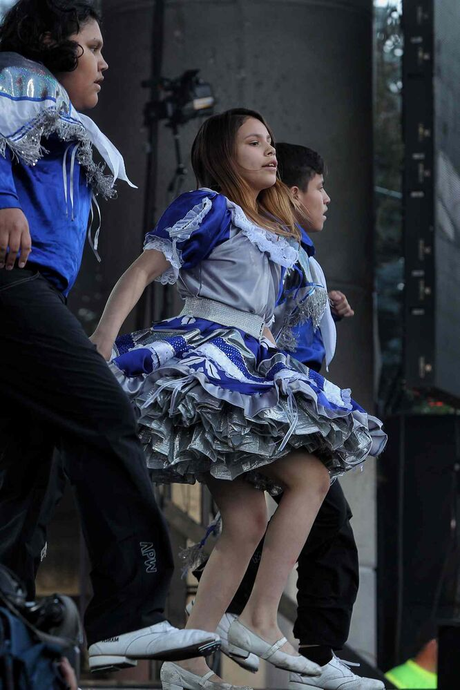 Members of Métis Jiggers perform on the Festival Stage at The Forks during the United Way 50th Anniversary concert, One Night For Winnipeg. (Mike Deal / Winnipeg Free Press)