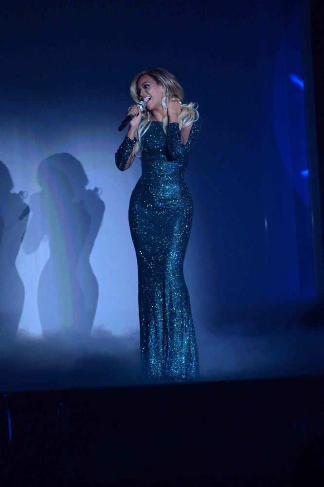 U.S. recording artist Beyoncé performs onstage at the BRIT Awards 2014 at the O2 Arena in London.
