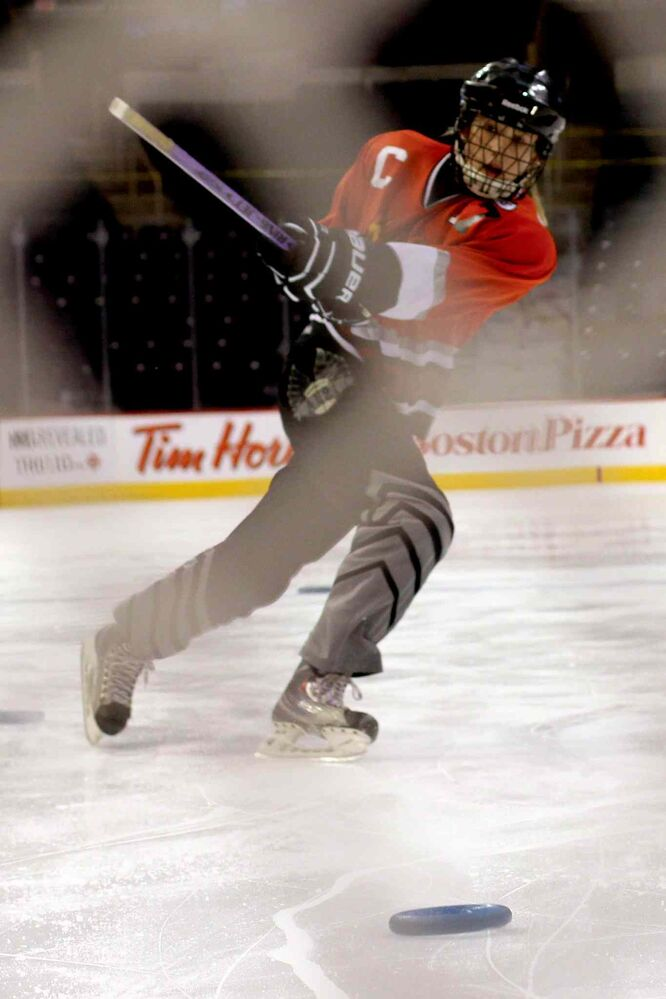 Jessica Halstead  of the McDonald Wildfire takes part in the Hardest Shot Competition at the Winnipeg Ringette League's all-star game at the MTS Centre.  (Jordan Thompson)