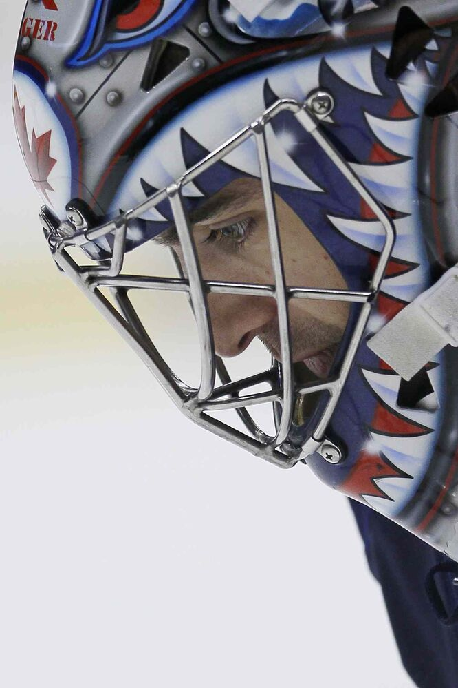 Winnipeg goaltender Al Montoya during the pre-game.