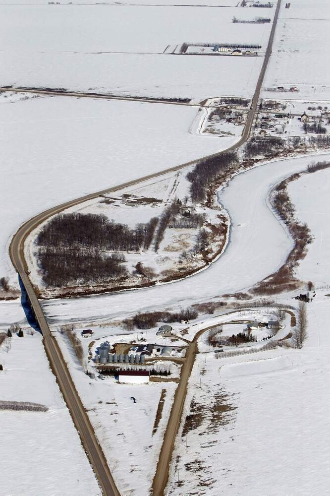 Aerial photo along the Red River north of Morris, April 10, 2013.