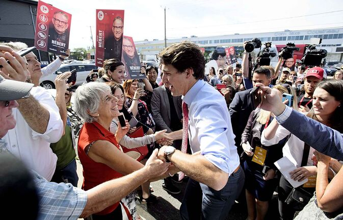 Liberal Leader Justin Trudeau makes a campaign stop in Saint-Hubert, Que., on Friday, Sept. 13, 2019. THE CANADIAN PRESS/Sean Kilpatrick