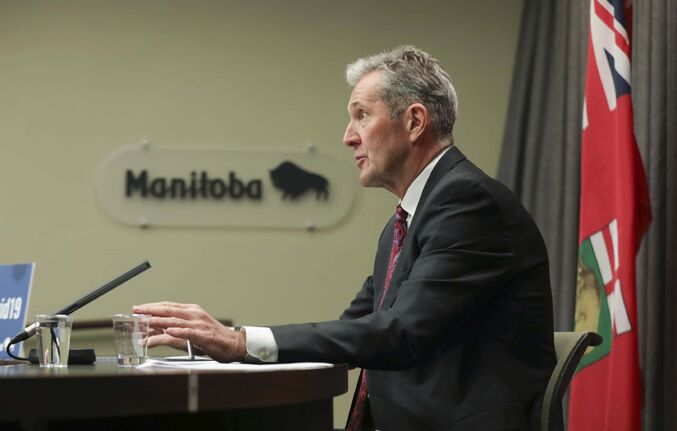 RUTH BONNEVILLE / WINNIPEG FREE PRESS  Local - Pallister news briefing   Premier Brian Pallister answers questions from the media at the daily news briefing at the Legislative Building Tuesday.   May 12, 2020