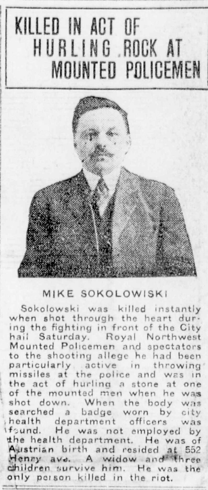 The Winnipeg Tribune story describing the death of Mike Sokolowski. Other media accounts suggested he was an innocent bystander.