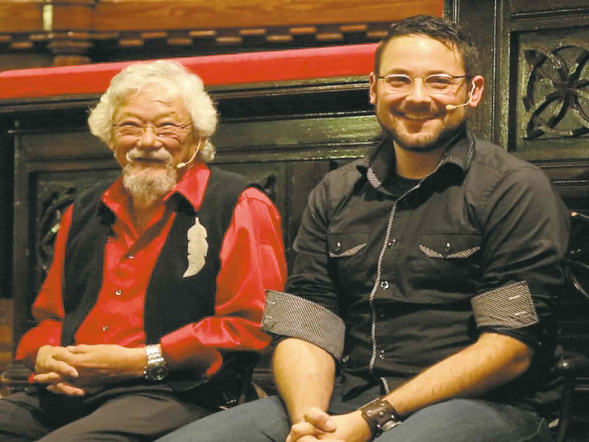 David Suzuki (left) and Ian Mauro are collaborating  on a documentary dealing with the impact of climate change in British Columbia (far right).
