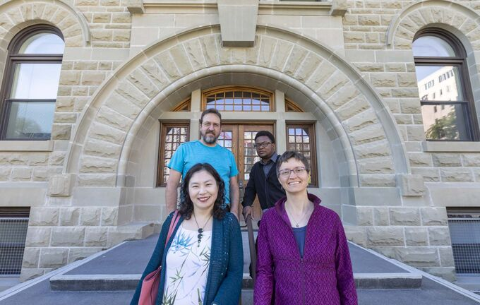 Michael Thibert (clockwise from top left), Widney Pervil, Lilli Williams and Ji-Yung Jennifer Choi are the last students to graduate from the U of W's theology program, which dates back to 1883. (Sasha Sefter / Winnipeg Free Press)</p></p>
